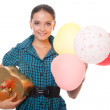 Happy young woman with gift for birthday — Stock Photo