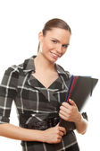 Successful business woman holding documents — Stock Photo