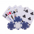 Three of Kind with poker chips — Stock fotografie #7272951