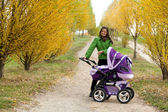 Young mother with pram — Stock Photo