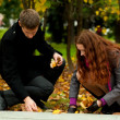 Young couple in autumn park — Stock Photo #7399818