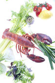 Lobster with vagetables — Stock Photo