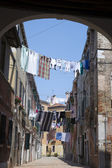 Linens and clothes dries outdoor. Venice street, Italy — Stock Photo