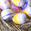Easter Eggs in hay — Stock Photo