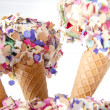 Stock Photo: Party food sweet icecream cones with confetti decoration