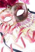 Venice mask with confetti — Stock Photo