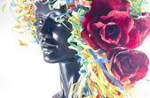 Konfetti wigg mit rosen — Stockfoto