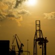 Sunset over the harbor — Stock Photo