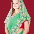 Stock Photo: Portrait of young beautiful womin sari