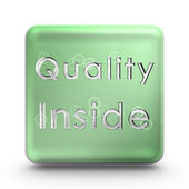 Green quality cube icon — Stockfoto