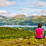 Female hiker overlooking Lake Windermere — Stock Photo #6874247