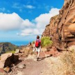 Female hiker on a Mountain path, Tenerife — Stock Photo