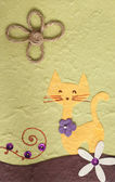 Papercraft Cat and flower green background — Stock Photo