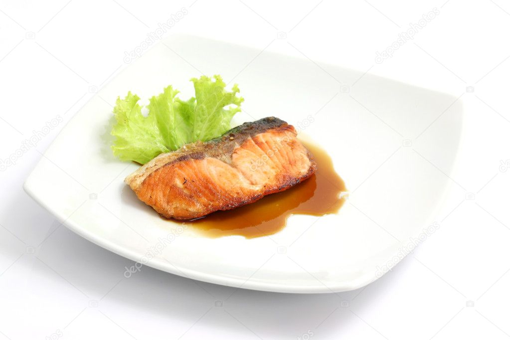 Grilled salmon with teriyaki sauce isolated in white background  Stock Photo #6916238