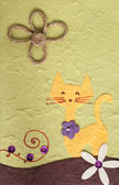 Papercraft Cat and flower background — Stock Photo