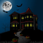 Halloween Haunted House — Stock Vector