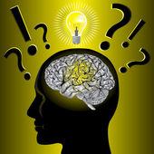 大脑的想法和问题解决 — 图库矢量图片