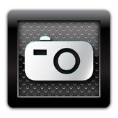 Digital camera metal icon — Stock Photo