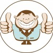 Stock Vector: Illustration of businessmshowing thumbs up. Retro