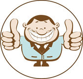 Illustration of businessman showing thumbs up. Retro — Stock Vector