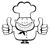 Smiling chef showing thumbs up — Stock Vector