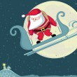 Santa skydiver — Vector de stock
