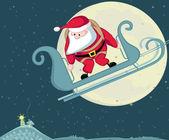 Santa skydiver — Stock Vector