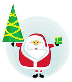 Санта с Новогоднее дерево и настоящего — Cтоковый вектор