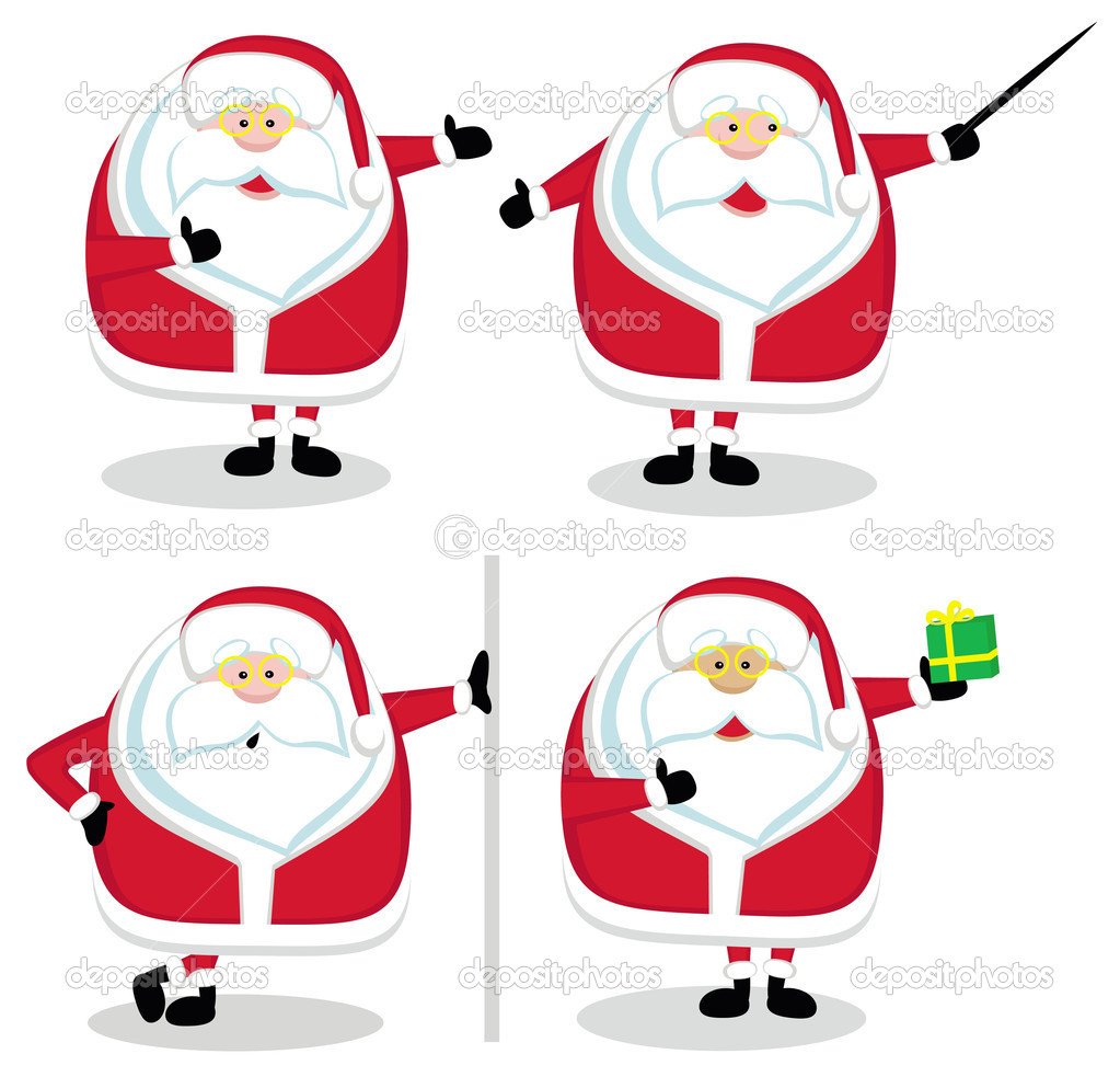 Four Santas in different positions. Vector illustration  Stock Vector #7912561
