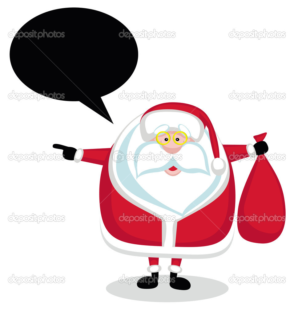 Cartoon Santa with speech bubble holding red bag and pointing left — Stock Vector #7912567
