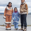 The Chukchi family in folk dress — Stock Photo