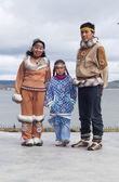 The Chukchi family in folk dress — Stock Photo