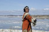 Dancing chukchi woman — Stock Photo