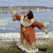 Stock Photo: Dancing chukchi woman