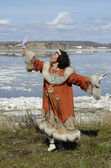 Dancing chukchi woman — Stock fotografie