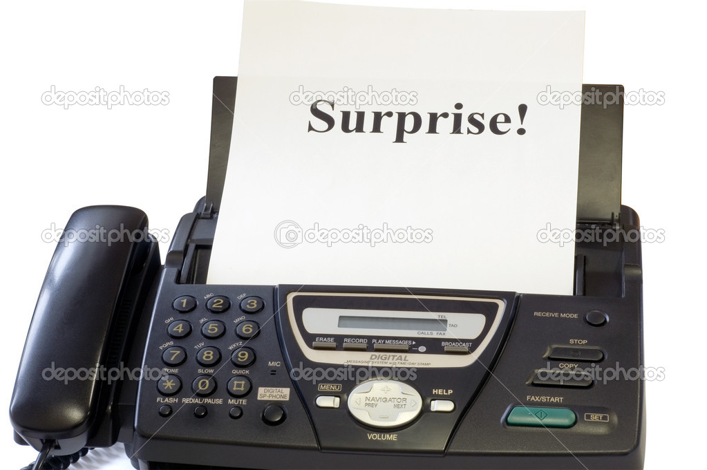 Fax machine and sheet with inscription — Stock Photo #7296470