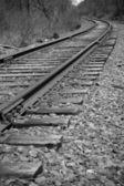 железнодорожные пути перспектива — Стоковое фото
