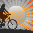 Mountain Biking Silhouette - Stock Photo