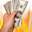 Fiery Money — Stock Photo