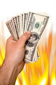 燃えるようなお金 — ストック写真