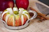 Freshly Sliced Apples and Cinnamon Sticks — Stock Photo
