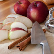 Sliced Apple and Cinnamon Sticks — Stockfoto