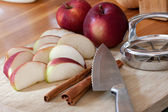 Sliced Apple and Cinnamon Sticks — Stok fotoğraf