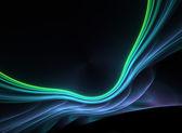 Mavimsi yeşil parlayan fraktal plazma — Stok fotoğraf