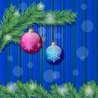 Two christmas balls and christmas tree branch — Vecteur #7561037