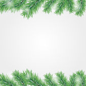 Frame with Christmas tree branch — Stock Vector