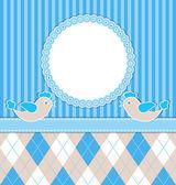 Baby boy card with birds — Stock Vector