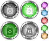 Sac avec symbole de recyclage. boutons d'internet. — Vecteur