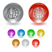 Globe and array down — Stock Vector