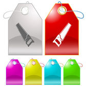 Hand saw. Vector tags. — Stock Vector